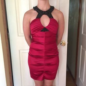 Stunning Red Satin Dress with Ruching